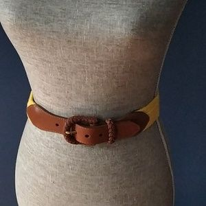 Lands End yellow belt with leather buckle